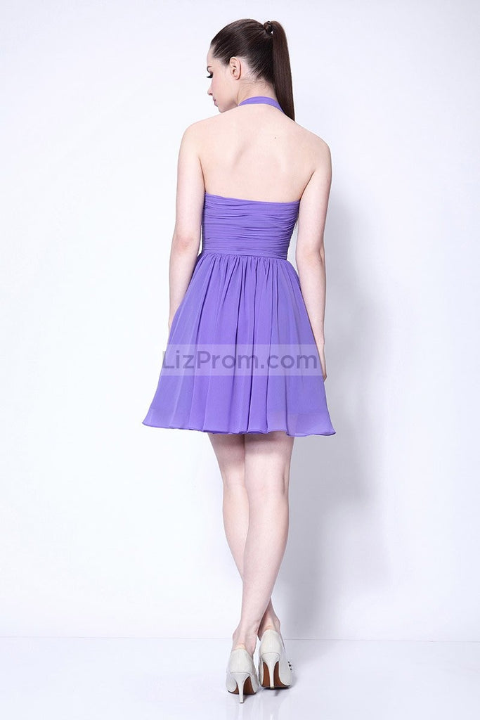 Purple Halter Fit And Flare Party Short Dress