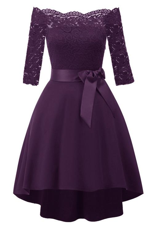 Purple Lace Off-the-shoulder High Low Prom Dress
