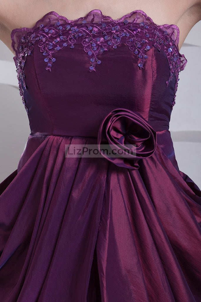 Purple Ruffle Strapless Sexy Applique Mini Dress