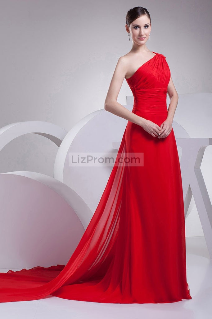 Red A-line One Shoulder Ruffle Prom Evening Dress