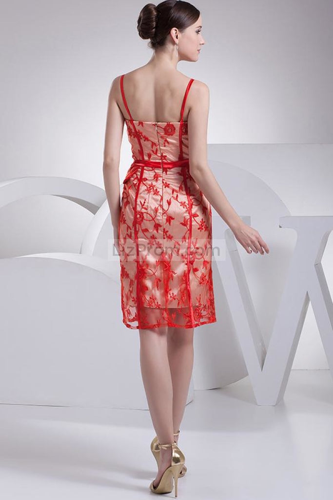 Red Backless Applique Cocktail Dress