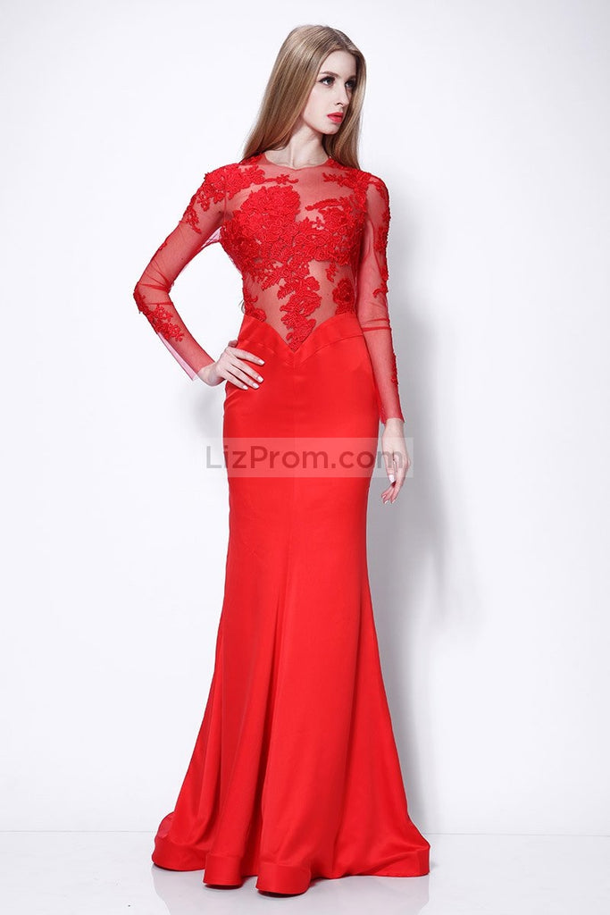 Red Mermaid Applique Prom Wedding Dress With Long Sleeves