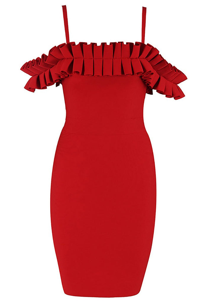 Red Off-the-shoulder Ruffled Spaghetti Strap Bandage Dress