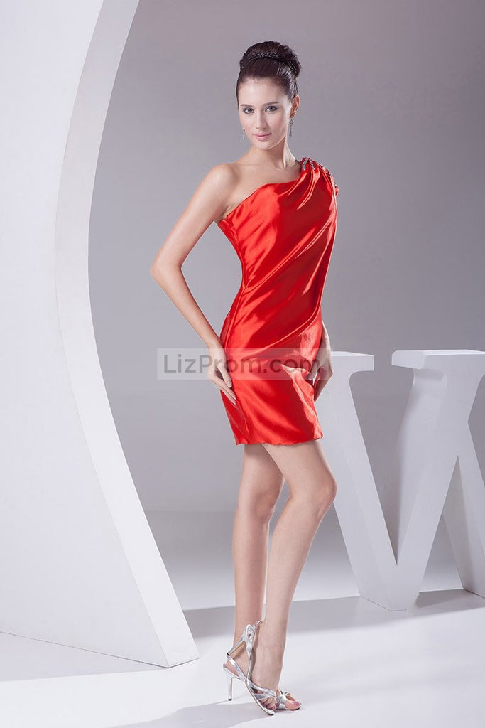 Red One Shoulder Beaded Satin Short Prom Homecoming Dress