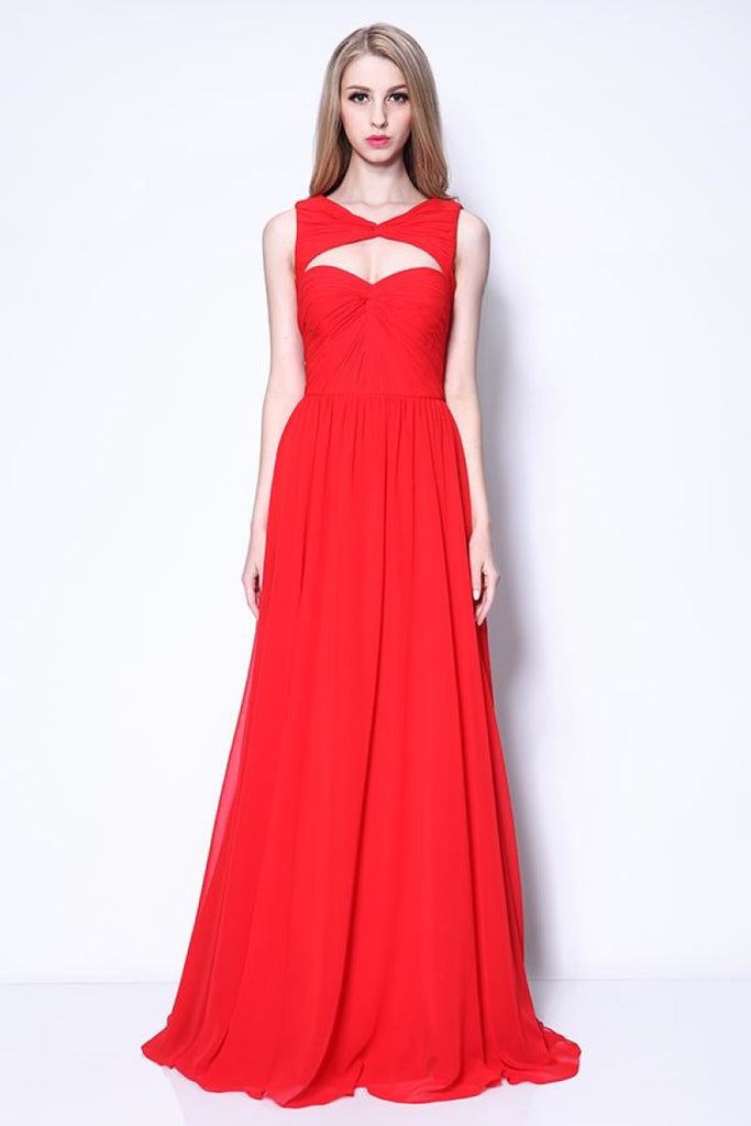 Red Ruffled Sleeveless Cut Out Prom Evening Dress