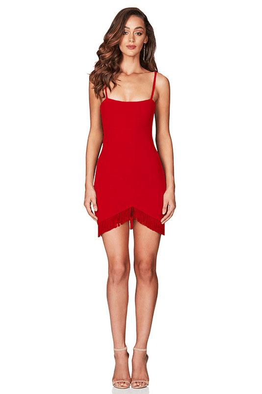 Red Spaghetti Straps Short Bandage Sexy Dress - Mislish