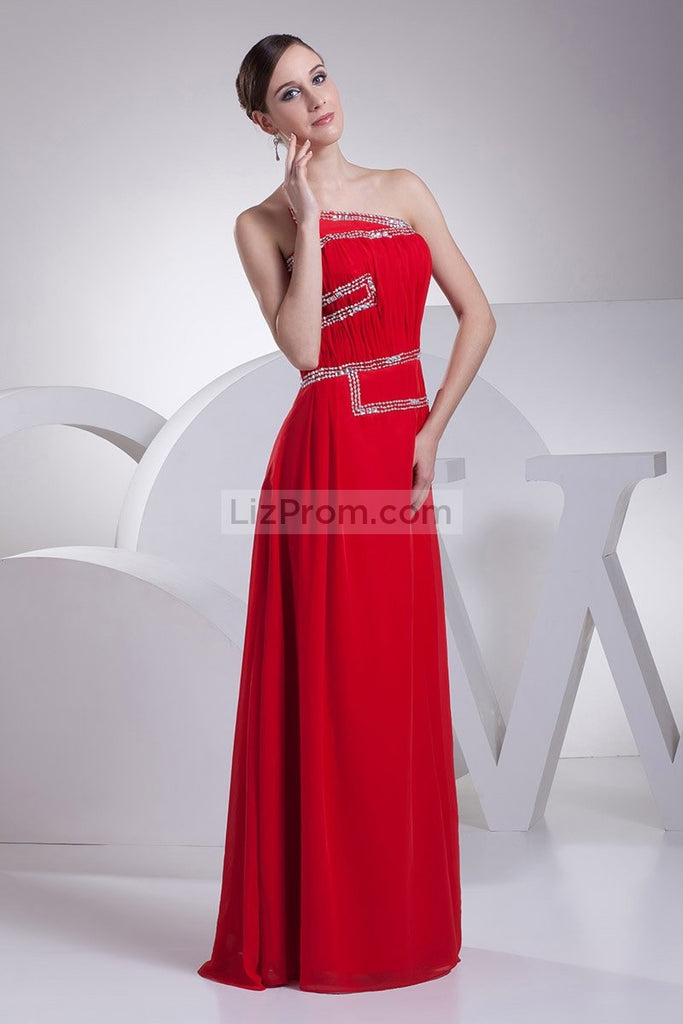 Red Strapless Chiffon Beaded A-line Prom Dress