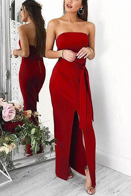 Sexy Red Strapless Thigh-high Slit Long Bandage Prom Dress