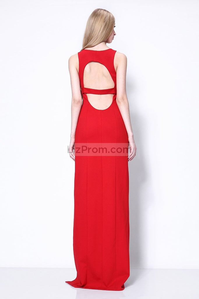 Red Thigh-high Slit Column Fitted Prom Dress