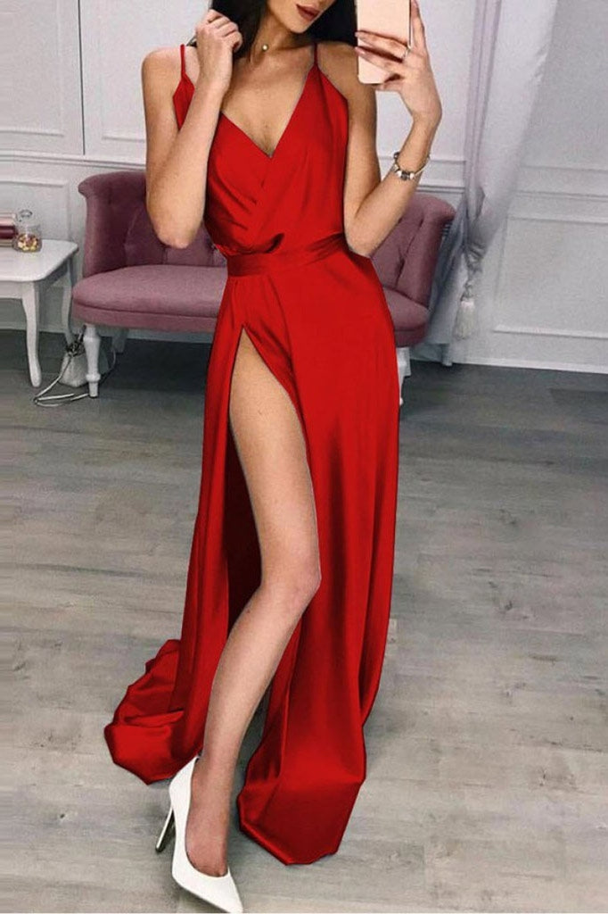Red Sexy Thigh-high Slit Prom Dress