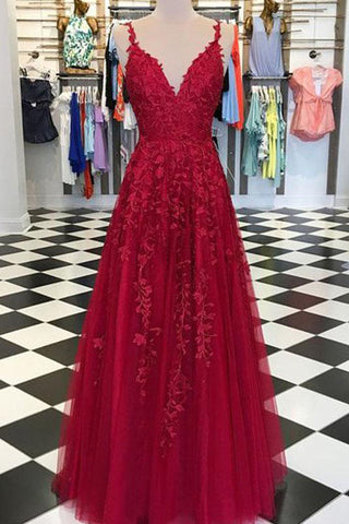 Red Fancy Applique A-line V-neck Tulle Evening Prom Dress
