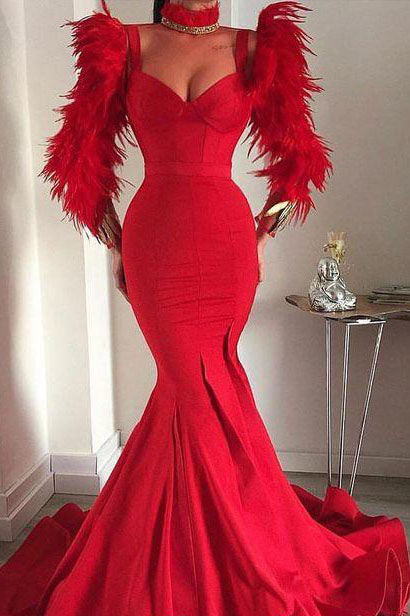 Red Long Mermaid V-neck Straps Luxury Feather Prom Dress