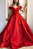 Red Off-the-Shoulder V-neck Evening Prom Ball Gown
