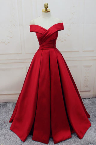 Red Satin A-line Off The Shoulde Evening Formal Gowns Prom Dress