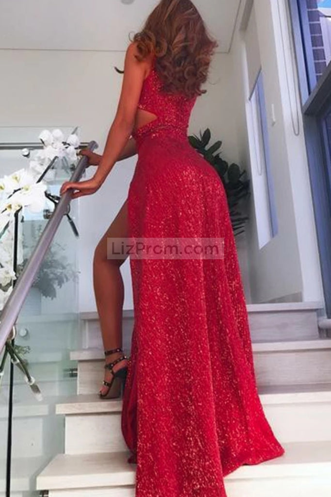 Red Sequined Cut Out Thigh-High Slit Prom Dress Dresses
