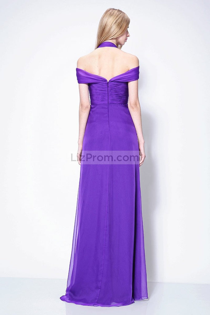Regency Off-the-Shoulder Halter A-line Prom Evening Dress