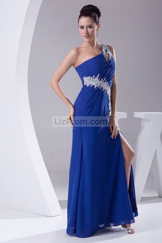 Royal Blue Cut Out Applique High Slit Evening Prom Dress