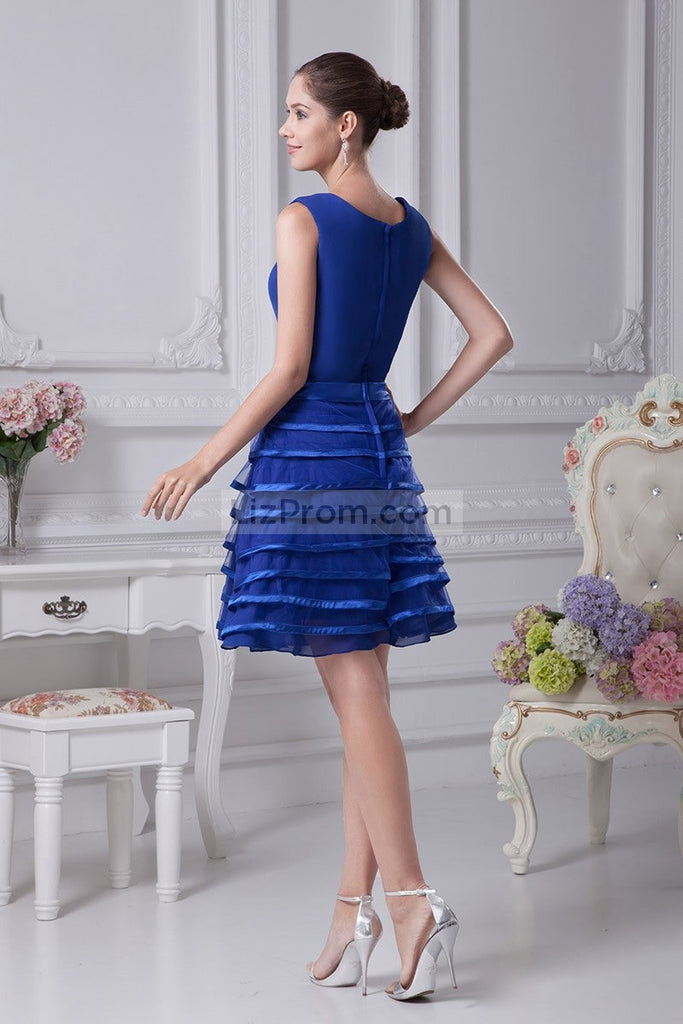 Royal Blue Scoop Fit And Flare A-line Prom Dress