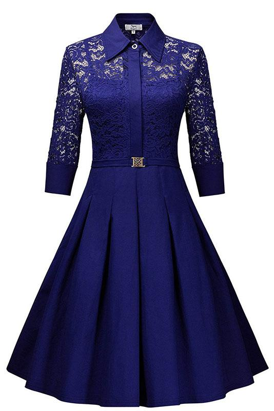 Royal Blue Lace Homecoming Dress With Long Sleeves - Mislish
