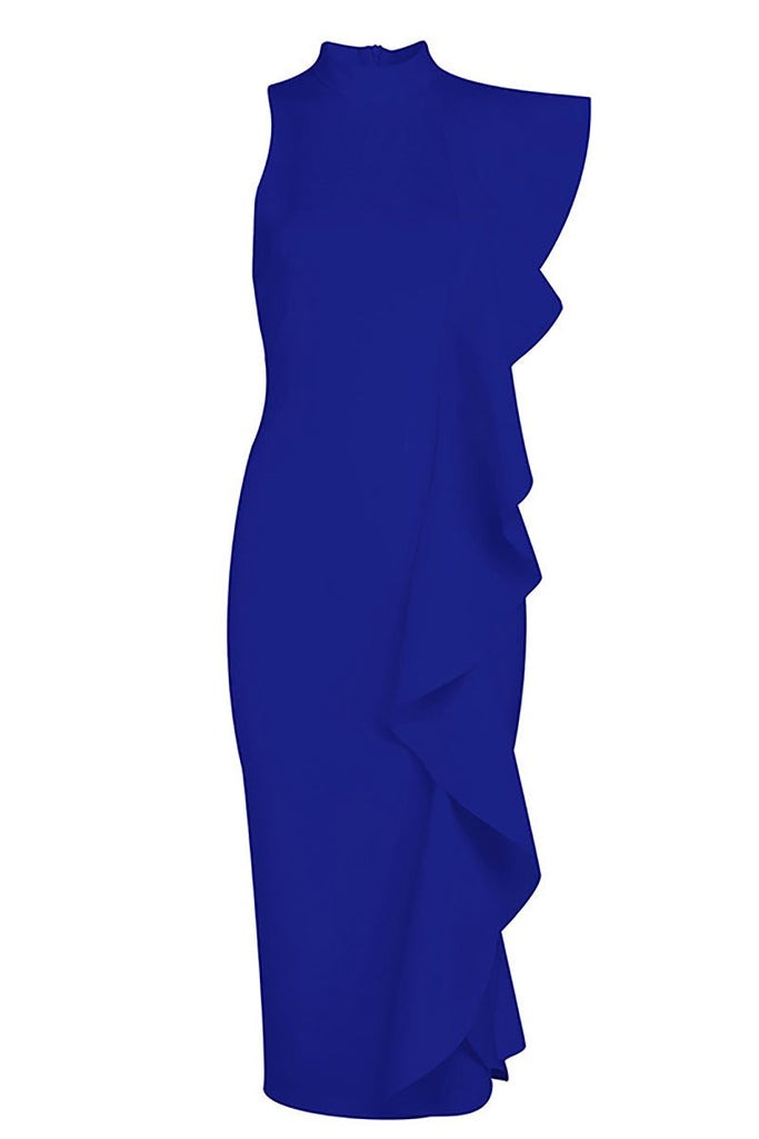 Royal Blue Ruffle Slit Sexy Bandage Party Dress
