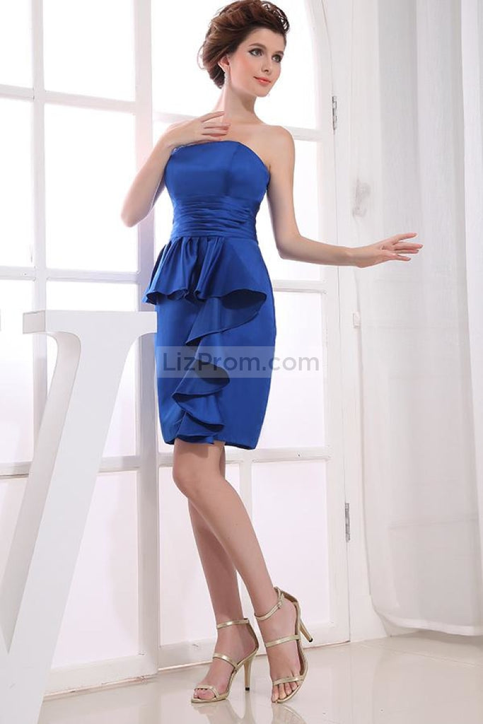 Royal Blue Ruffled Strapless Short Prom Dress