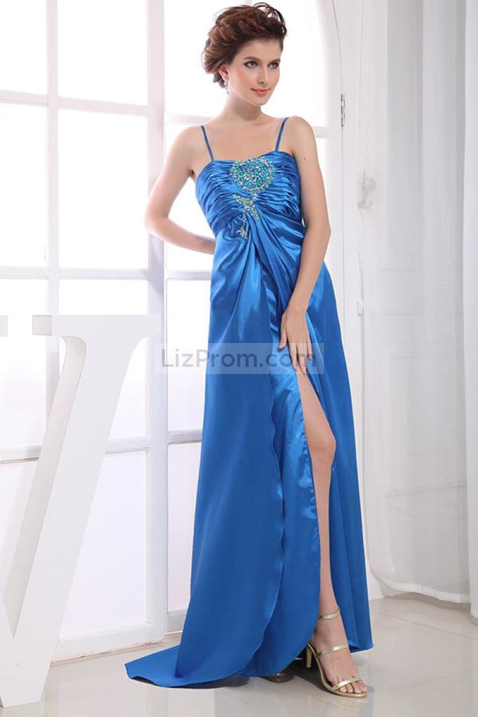 Royal Blue Thigh High Slit Prom Evening Dress With Sequins