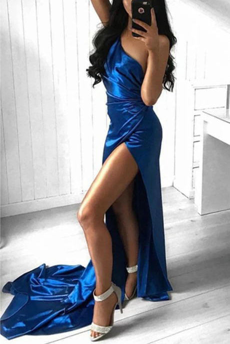 Sexy Royal Blue One Shoulder Ruffled Split Front Evening Prom Dress