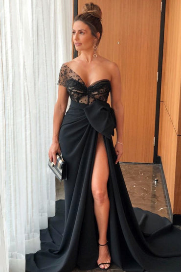 Black Thigh-high Slit One Shoulder Formal Prom Dress