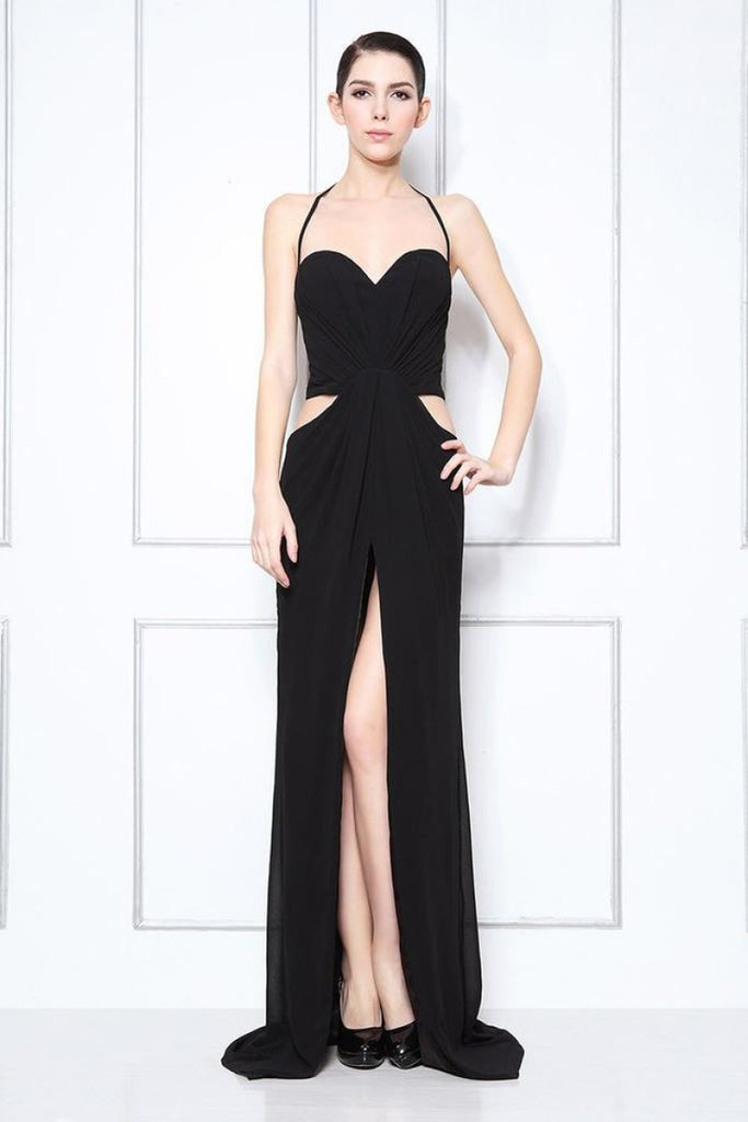 Sexy Black Thigh-high Slit Halter Cut Out Prom Dress