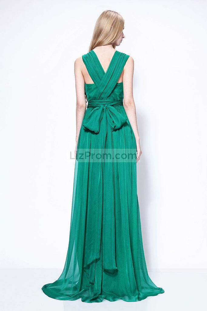 Sexy Green V-neck Chiffon Thigh-high Slit Prom Formal Dress