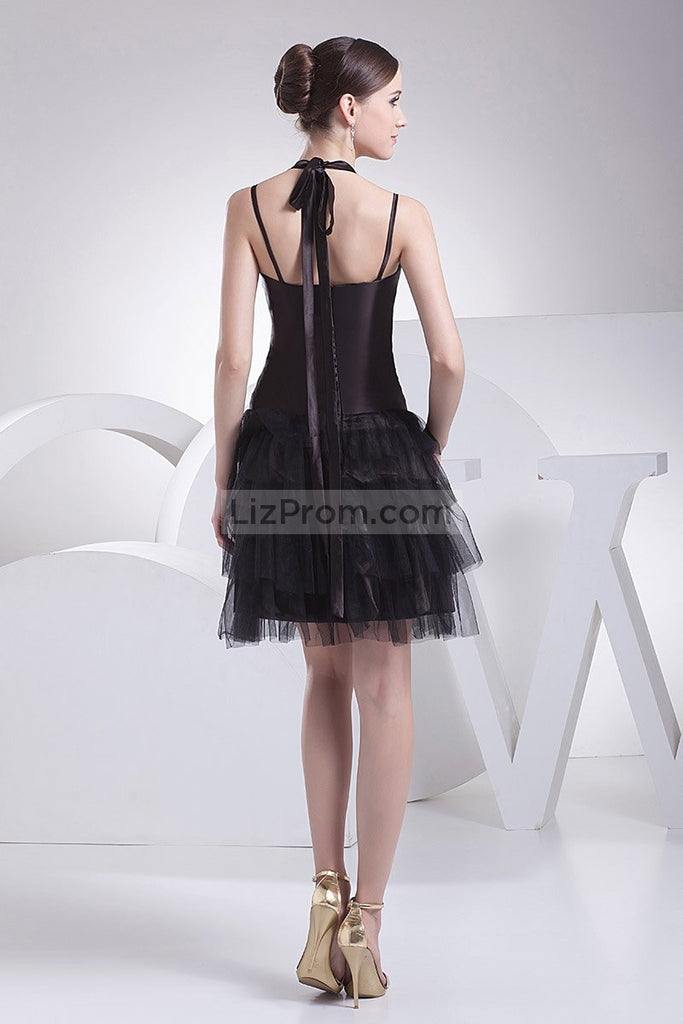 Sexy Halter Black Little Tulle A-line Dress For Prom