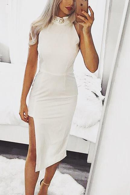 Sexy Halter Neck Sleeveless High Low Bandage Party Dress