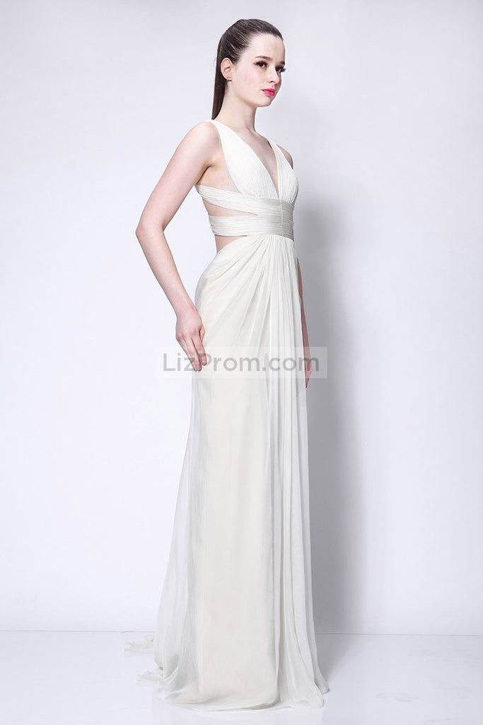 Sexy Ivory Chiffon Cut Out Prom Formal Dress