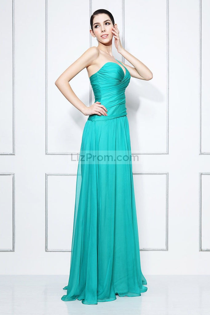 Sexy One Shoulder Thigh-high Slit Floor Length Prom Dress