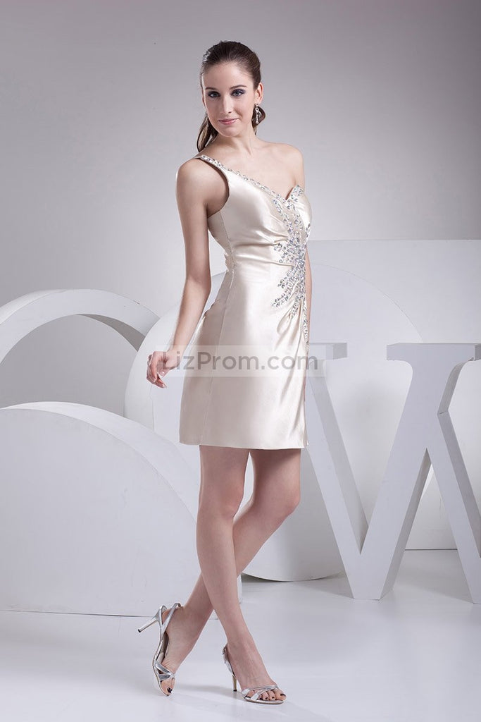 Sexy One Shoulder Beaded Homecoming Dress