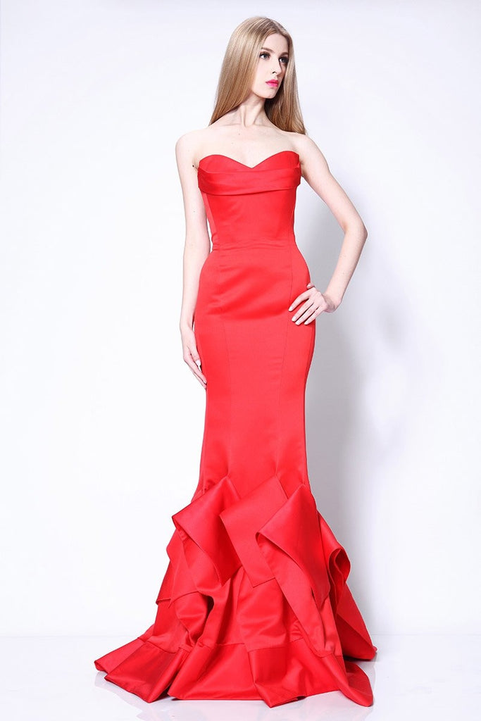 Sexy Red Strapless Ruffle Mermaid Prom Gown