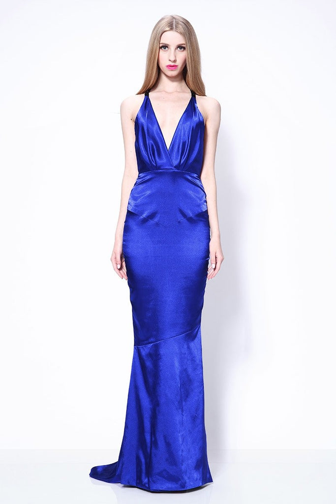 Sexy Royal Blue Mermaid Deep V-neck Open Back Prom Dress