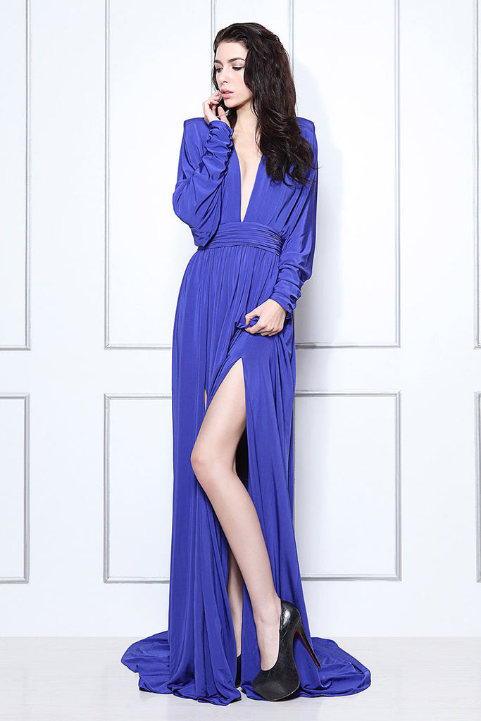 Sexy Royal Blue Thigh-high Slit Evening Formal Dress With Long Sleeves