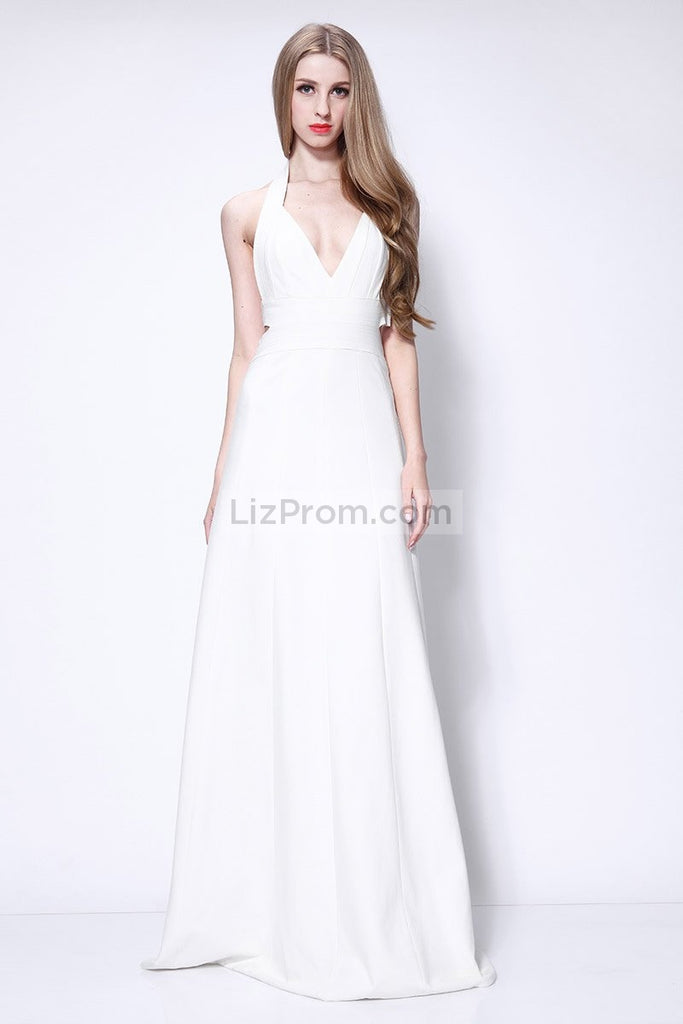 Sexy White Halter Backless Long Prom Formal Dress