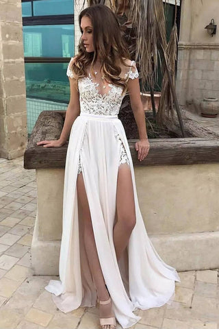 Sexy White Lace Thigh-high Slit Prom Dress