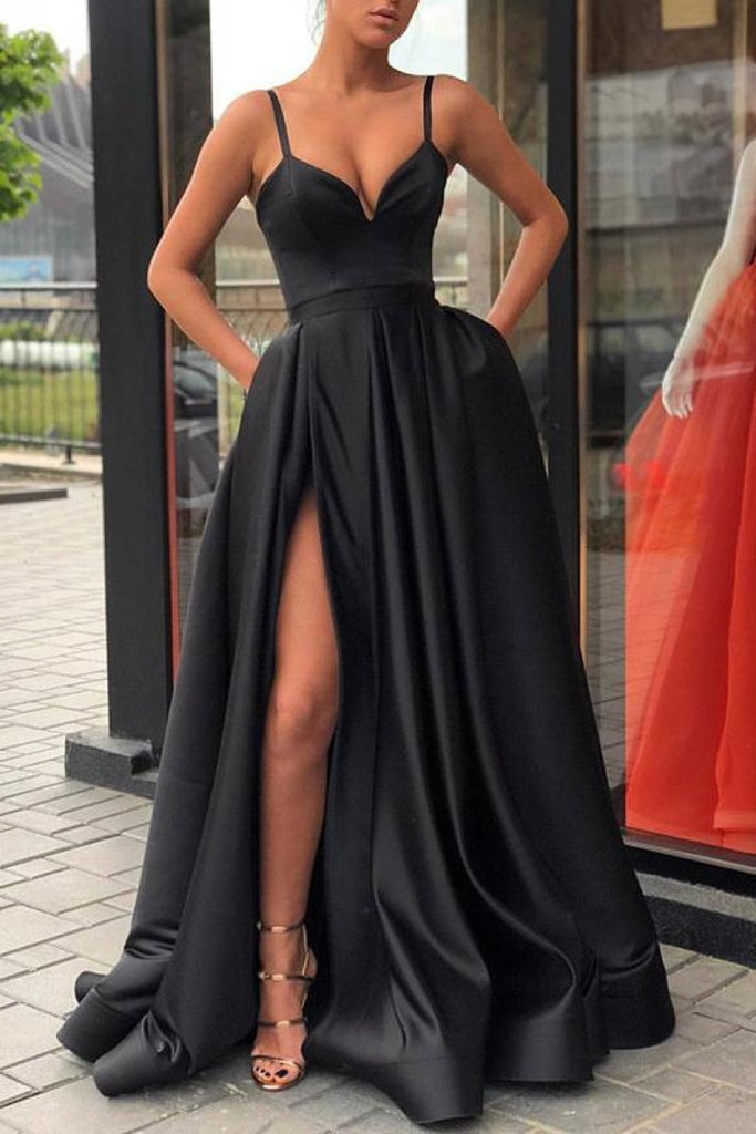 Sexy A-Line High Split Formal Dress Evening Prom Gown Black Dresses