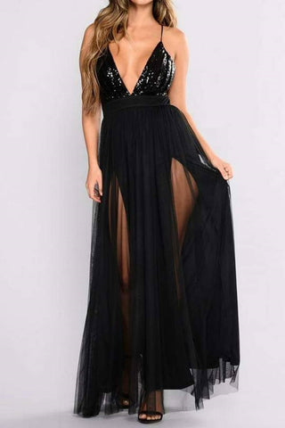 Sexy Black Sequined Spaghetti Straps Deep V-neck Slit Evening Prom Dress