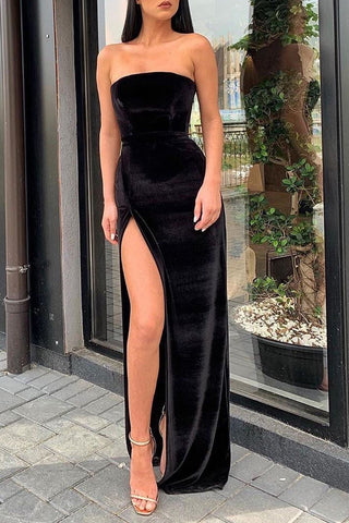 Sexy Black Strapless Slit Prom Evening Dress