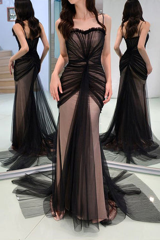Sexy Black Tulle Sweetheart Mermaid Formal Dress Evening Gown