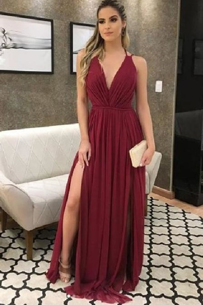 Sexy Burgundy Backless 2 Slits Evening Gown Prom Dress 0 Dresses