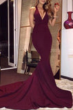 Backless Sexy Burgundy Low V-neck Evening Mermaid Formal Dress