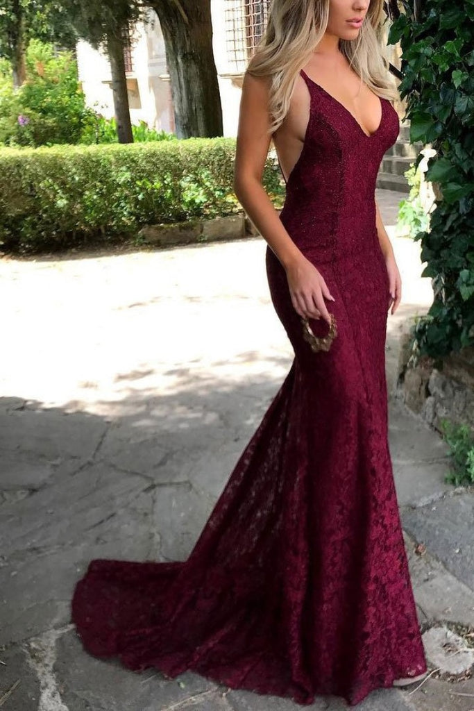 Sexy Burgundy Lace V-Neck Formal Dress Evening Gown Dresses