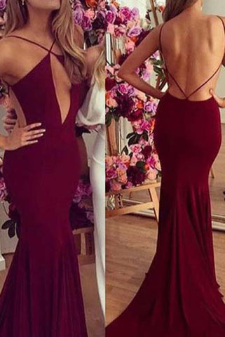 Burgundy Criss Cross Straps Mermaid Cut Out Backless Prom Dress