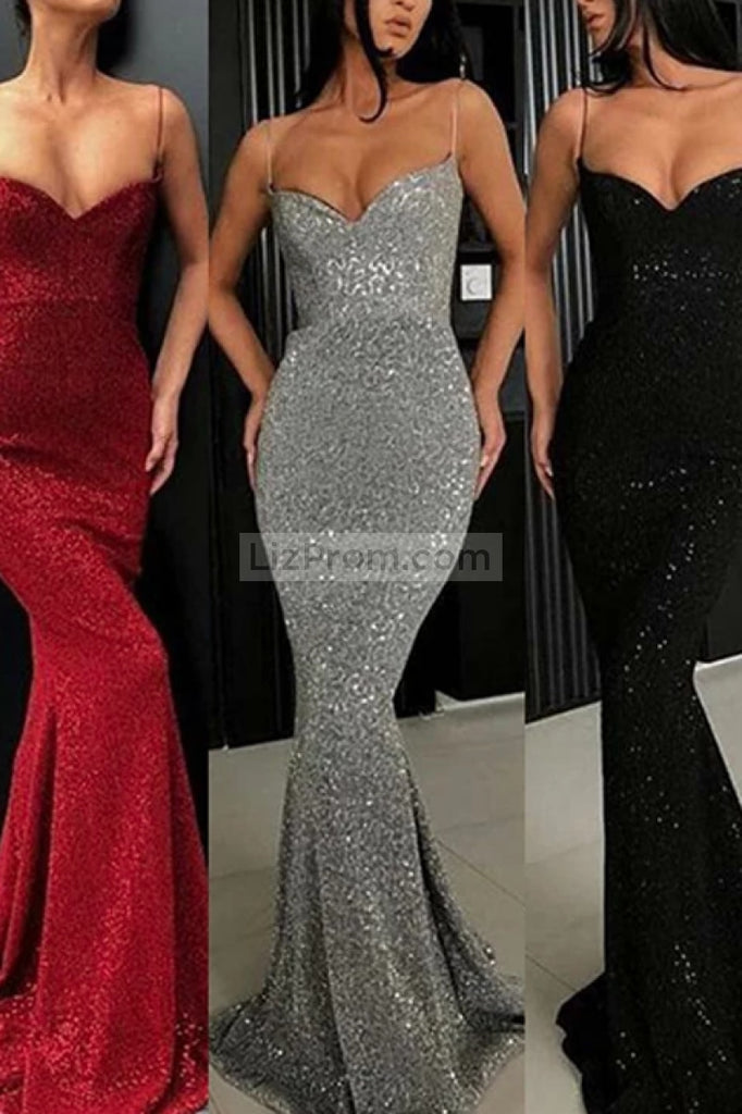 Sexy Burgundy Sequined V-Neck Mermaid Prom Dress Dresses