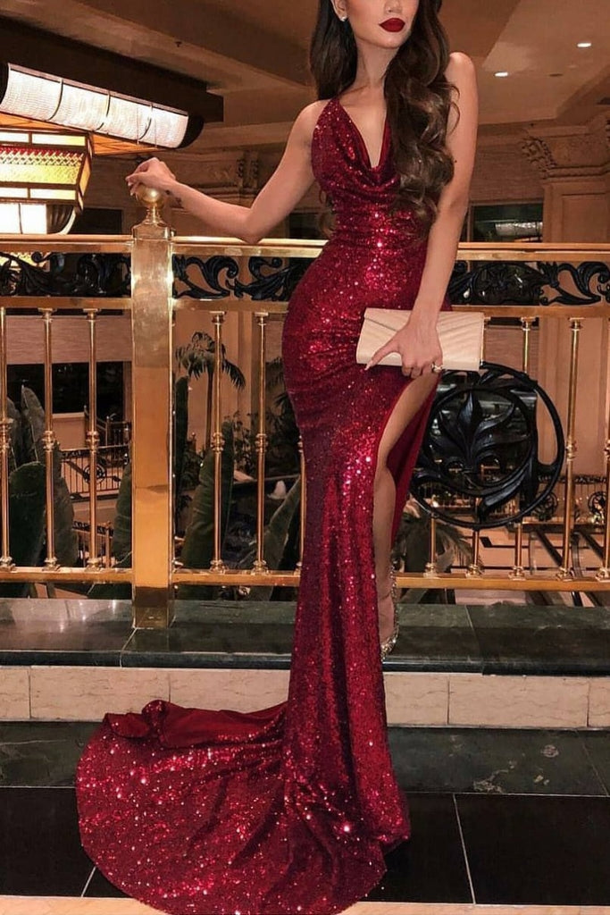 Sexy Burgundy Sleeveless Cowl Slit Sequined Mermaid Long Prom Dress Dresses